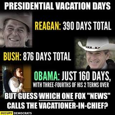 With 3/4ths of His Two Terms Over, Obama Has Taken ONLY 160 DAYS VACATION