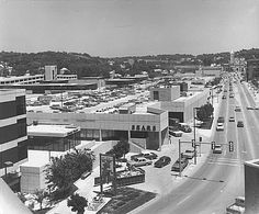 Photograph of the Midlands Mall in Council Bluffs, IA. view of Broadway and Broadway Methodist Church (looking east, taken from top of First Federal Building). Council Bluffs Iowa, Tear Down, Back In The Day, Old Pictures, Nebraska, Places Ive Been, Mall, Public, History