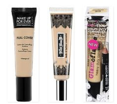 The Makeup Forever Full Cover Extreme Camouflage Cream and the Kat Von D Lock-It Tattoo conealer are are two of the most high coverage, heavy duty concealers on the market. They are also water and transfer-resistant and are very good for covering blemishes, dark circles, skin discoloration and tattoos. The Hard Candy Glamoflauge concealer has the same thick, highly pigmented properties and is readily available at WalMart!
