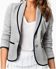 Comprar ropa de moda - Mujeres Turn down Collar corto gris chaqueta de la chaqueta - Blazers - Outwear