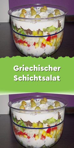 Greek layered salad- Griechischer Schichtsalat Ingredients 400 g minced beef a little olive oil for frying Spice mix (gyros spice) head iceberg lettuce small … - Easy Macaroni Salad, Seven Layer Salad, A Food, Food And Drink, Soften Cream Cheese, Party Finger Foods, Greek Salad, Salad Ingredients, Greek Recipes