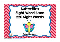 Butterfly Sight Word Race is a board game where your students read a word and then roll one die (dice) and move that many spaces on the board. When students land on a butterfly they get to go again, but watch out for the snake it will chase the butterfly back to start. There are 20 fun cards that will tell your students to go again, go ahead 2 or 3 spaces, go back 2 or 3 spaces, trade spaces, lose a turn, or go back to start.