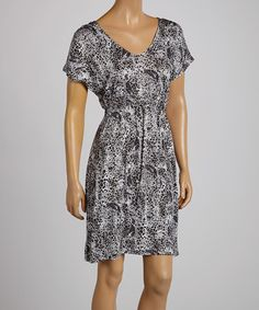 Love this Gray Animal V-Neck Dress by Just Love on #zulily! #zulilyfinds