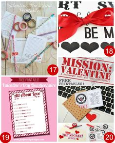 28 FREE Valentine Printables including Valentine Word Find, Valentine's Day Printable Wrapping Paper, Valentine Questionnaire, Mission Valentine's Day Hunt and more on Frugal Coupon Living.