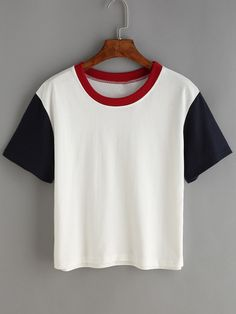 Contrast Crew Neck White T-shirt Mobile Site