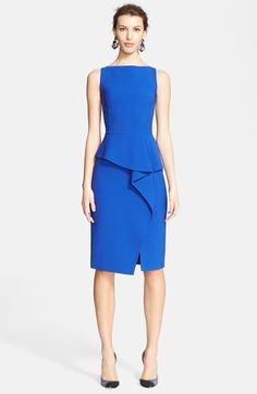 Free shipping and returns on Oscar de la Renta Draped Peplum Sheath Dress at Nordstrom.com. Prominent princess seams underscore the structural precision of a saturated bateau-neck sheath while its curved peplum giving way to a folded drape softens the look down the asymmetrically slit skirt. $1374