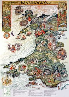 Amazing illustrated map of Wales features representations of the legendary tales from the Mabinogion, the basis for much of Welsh mythology including early legends of Merlin, Arthur and King Lyr. (Click the image to get a better look at the illustrations. Welsh Language, Fire Breathing Dragon, Celtic Mythology, Fantasy Map, Celtic Art, Medieval, Vintage World Maps, Drawings, Costumes