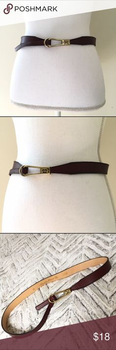 """Etienne Aigner Oxblood Vintage Belt Etienne Aigner Oxblood Vintage Belt Lovely Oxblood Leather belt with brass Etienne Aigner logo buckle. Equestrian-style. 36.5"""" long, 1"""" wide. In very good pre-owned condition. 🌺Search my closet for your size  🌸Reasonable Offers always Welcome! 🌺Bundle and SAVE! 🌸No Trades or Holds, thanks! Etienne Aigner Accessories Belts"""