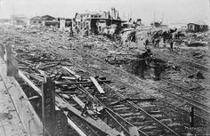 A view of the destruction at Irkutsk station on the trans-Siberian railway line, destroyed by the Bolsheviks during the Russian Civil War in 1919.