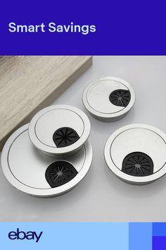 Good Computer Desk Black Plastic Flip Top Grommet Cable Hole Cover 80mm Wide Selection; Furniture