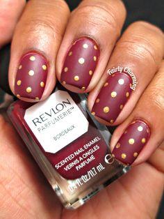 Fairly Charming: A Spotted Bordeaux Bordeaux, Fingernail Designs, Nail Polish Designs, Revlon, Gorgeous Nails, Pretty Nails, Formal Nails, Makeup Inspiration, You Nailed It