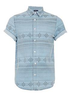 BLUE AZTEC PRINT DENIM SHORT SLEEVE SHIRT - Men's Shirts  - Clothing