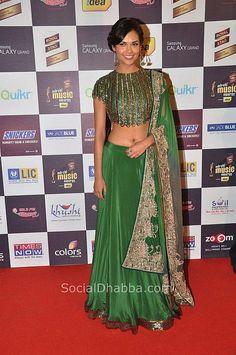 Actor @TheEshaGupta in a Beautiful @Anand Kabra http://www.anandkabra.com/ #Desi Outfit at Royal Stag @Lora Brawner Mirchi Music Awards 2012
