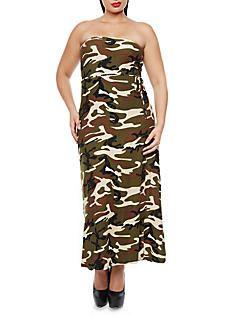 Plus Size Strapless Camo Print Maxi Dress with Tie Waist,OLIVE