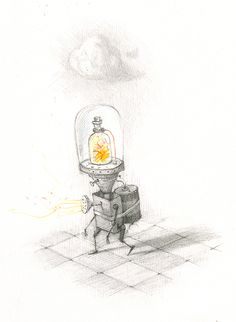 Shaun Tan - Have battery, will travel, pencil A4