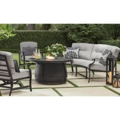 Member's Mark Agio Hastings Curved Deep Seating Set with Sunbrella Fabric - Sam's Club Fire Pit Seating, Fire Pit Table, Patio Seating, Patio Dining, Patio Furniture Sets, Furniture Layout, Furniture Makeover, Nice Furniture, Painting Furniture