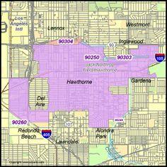Hawthorne Zip Code Map City Of Hawthorne Zip Codes Hawthorne California California Map Hawthorne