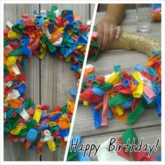 Ballonnenkrans Happy Birthday, Birthday Parties, Make All, Giving, Centerpieces, Wreaths, Entertaining, Party, Flowers