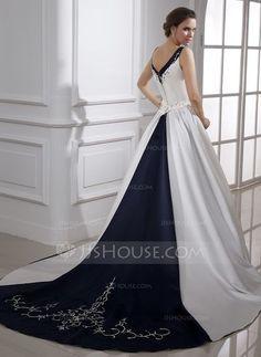 Corte de baile Escote en V Cola capilla Satén Vestido de novia con Bordado Bordado Lentejuelas (002015473)