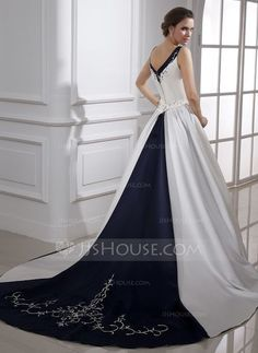 Wedding Dresses - $229.99 - Ball-Gown V-neck Chapel Train Satin Wedding Dress With Embroidery (002015473) http://jjshouse.com/Ball-Gown-V-Neck-Chapel-Train-Satin-Wedding-Dress-With-Embroidery-002015473-g15473?snsref=pt&utm_content=pt