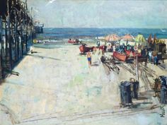 "American Legacy Fine Arts presents ""Untitled; Pier"" a painting by Roger E. Kuntz (1926-1975)."