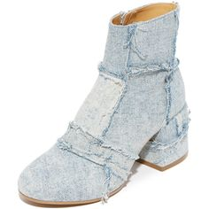 MM6 Patchwork Denim Booties ($555) ❤ liked on Polyvore featuring shoes, boots, ankle booties, mid heel boots, side zip boots, side zipper boots, patchwork boots and block heel booties