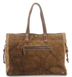 $50 Amazon.com: Large Canvas Leather Casual Shopper Travel Laptop Tote Hobo Satchel Handbag-Coffee: Electronics