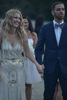 Shawna Olsten wore our Stone Fox Bride gold, pearl and crystal hand-beaded halo… Wedding Dress Clothes, Vintage Style Wedding Dresses, Wedding Dress Styles, Bridal Style, Vintage Dresses, Stone Fox Bride, Ceremony Dresses, Nontraditional Wedding, Dressed To Kill