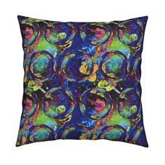 Catalan Throw Pillow featuring SPACE GUITAR BIG SOAP BUBBLES PURPLE YELLOW by paysmage | Roostery Home Decor