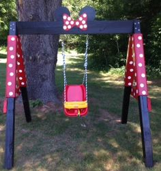 "Inspired by the Little Tikes ""Minnie Mouse"" Cozy Coupe, my  husband and I created this handmade, hand painted swing for our 1-yr.-old granddaughter, who is fascinated with Minnie Mouse!"