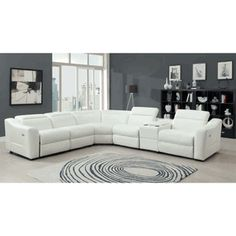 Instrumental 6 Pieces White Leather Power Reclining Sofa Sectional