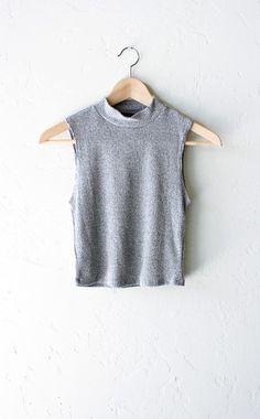 Sleeveless Mock Neck Crop Top - Grey