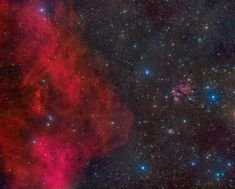 A gaze across a cosmic skyscape, this telescopic mosaic reveals the continuous beauty of things that are. The evocative scene spans some 6 degrees or 12 Full Moons in planet Earth's sky. At the left, folds of red, glowing gas are a small part of an immense, 300 light-year wide arc. Known as Barnard's loop