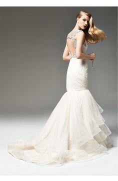 Hayley Paige Ivory Embellished English Net Mermaid Dress | Nordstrom