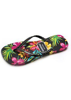 44dff85d0 Shop the GANDYS Tropical Flower Flip Flops - Black online at The Dressing  Room. Get