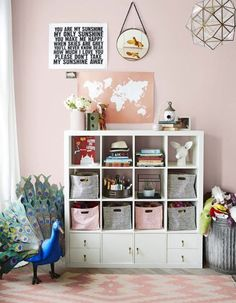 IKEA Kallax shelves and shelving units are the best canvas for creating! Kallax shelves are so universal that you can get almost anything from them . Ikea Cubbies, Ikea Kallax Shelf, Ikea Kallax Regal, Ikea Bookcase, Cube Ikea, Baby Zimmer Ikea, Genevieve Gorder, Deco Kids, Apartment Renovation