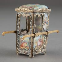Silver Smalls:Other , A VIENNESE GILT METAL AND ENAMEL MINIATURE SEDAN CHAIR . Makerunknown, Vienna, Austria, circa 1900. Unmarked. 2-5/8 x 3 x 1...