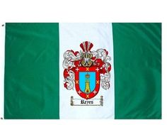 $49.99 Reyes Family Crest / Coat of Arms Flag. Large 3 ft. x 5 ft. polyester flags.