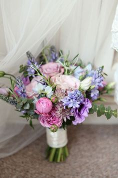 pink and blue wedding flowers bouquet, image by Dasha Caffrey
