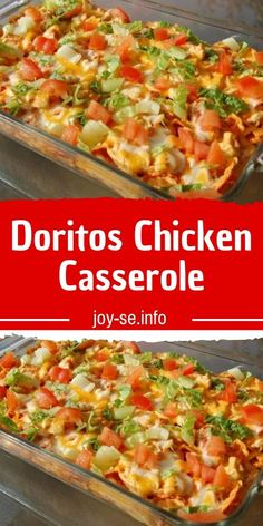 This Dorito chicken casserole is a simple and flavorful meal with a crunchy cheese and Dorito chip topping and crust. This is a casserole the whole family will love! This tasty chicken casserole was shared on recipes casserole Ww Recipes, Mexican Food Recipes, Cooking Recipes, Healthy Recipes, Recipies, Crockpot Recipes, Dinner Recipes, Oven Recipes, Dinner Ideas