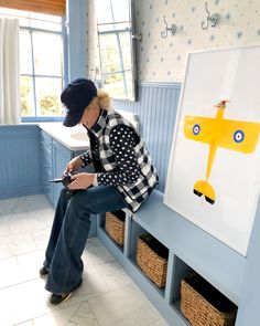#WhiteBathroomDecor Yellow Bathroom Decor, Kid Bathroom Decor, Yellow Wall Art, Yellow Walls, Car Prints, Kids Prints, Interior Design Photography, Bathroom Wallpaper, Boy Room