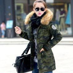 Limited Offer $27.27, Buy 2017 winter jacket women casual camouflage hooded mediu long parkas fashion ladies slim faux wool liner plus size coats overcoat