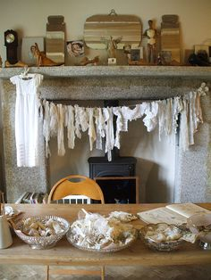 Antique lace drying in front of the fire