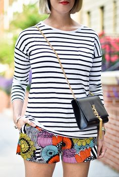 A Lacey Perspective: Mix It Up  Mixing Prints - Horizontal Stripes and a Funky Bold Print on Bottom - Lovely Combo!