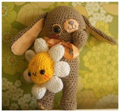 Image detail for -kawaii amigurumi / crochet easter bunny and flower plush friends Olly ...