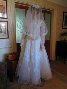There are a couple of age related imperfections that I need to mention. The top layer of the dress (the netting with the embellishments) appears to be all good. It is made from tulle lace, it is a lightweight tulle with very fine netting. | eBay!