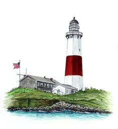 'Montauk Point Light'. Professionally printed decals by renowned marine artist Mark Ray. Mark is mostly known for his detailed marine life paintings but has also been producing paintings that include wildlife, beach scenes, nature scenes as well as other nautical designs. Lighthouse Lamp, Montauk Lighthouse, Architecture Collage, Facade Architecture, Montauk Point, Landscape Model, Dorm Walls, Point Light, House Sketch