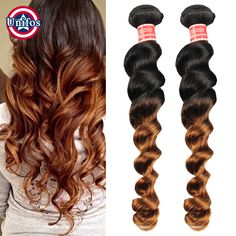 Indian Brown Hair Extensions Loose Wave Two Tone Human Hair Weave 2 Bundles 1b 30 Ombre Burgundy Blonde Ombre Hair Weave 1b 27