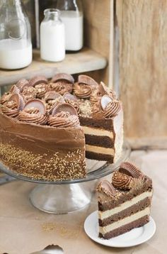 Sprinkle Bakes: Peanut Butter Cup Brownie Cake This look awesome. I must try this one.