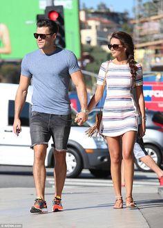 Casual outing: Mark Wright and Michelle Keegan looked blissfully happy as they wandered along Sunset Boulevard in Los Angeles on Monday Mark Wright Michelle Keegan, Michelle Keegan Style, Celebrity Outfits, Celebrity Style, Staple Wardrobe Pieces, Trendy Fashion, Fashion Outfits, Couple Outfits, Festival Fashion